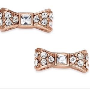 Kate Spade Rose Gold Crystal Bow Earrings